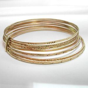 Gold Bangle Bracelet Set of 14